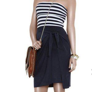 DKNY Strapless Navy Striped-Bodice Dress